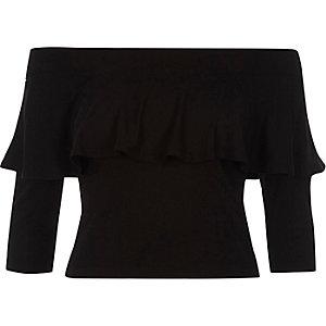 Black deep frill fitted bardot crop top