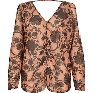 Orange mesh floral ruched batwing top