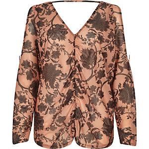 Top en tulle à fleurs orange froncé à manches chauve-souris