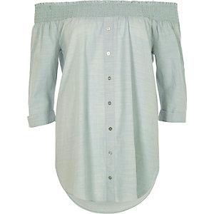 Light green shirred bardot shirt