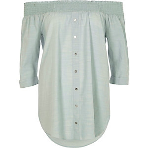 Light green shirred bardot shirt