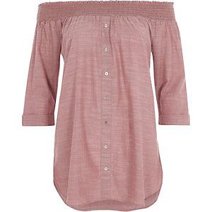 Donkerrood gesmokt overhemd in bardotstijl