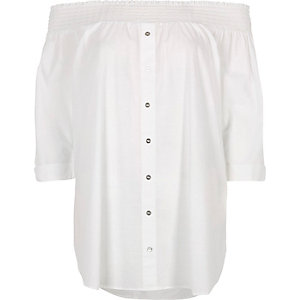 White shirred bardot button front shirt