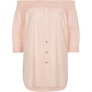Light pink shirred bardot button front top