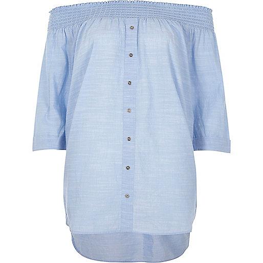 Light blue shirred bardot button front top