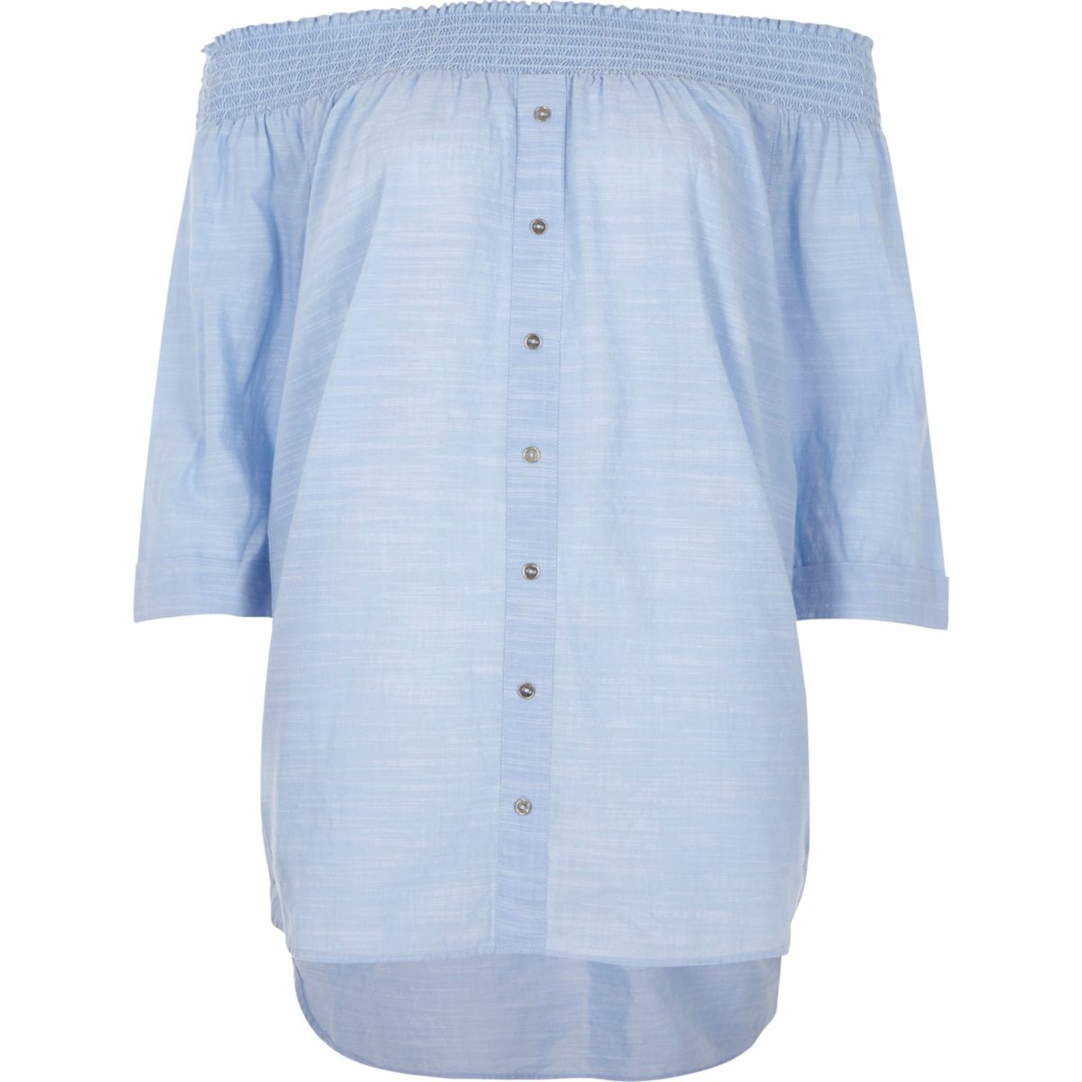 Light blue shirred bardot button front top