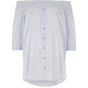 Blue shirred bardot button front woven top