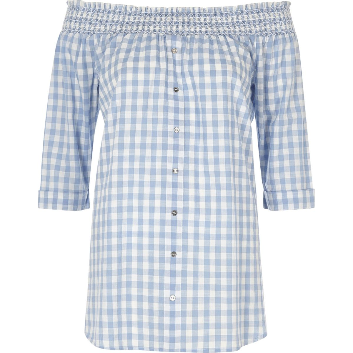 Blue gingham shirred bardot top