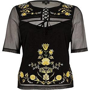 Zwart geborduurd T-shirt met vetersluiting van mesh