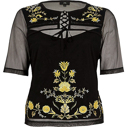Black mesh lace-up embroidered T-shirt