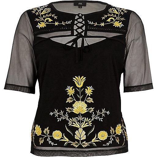 T-shirt en tulle brodé noir à laçage