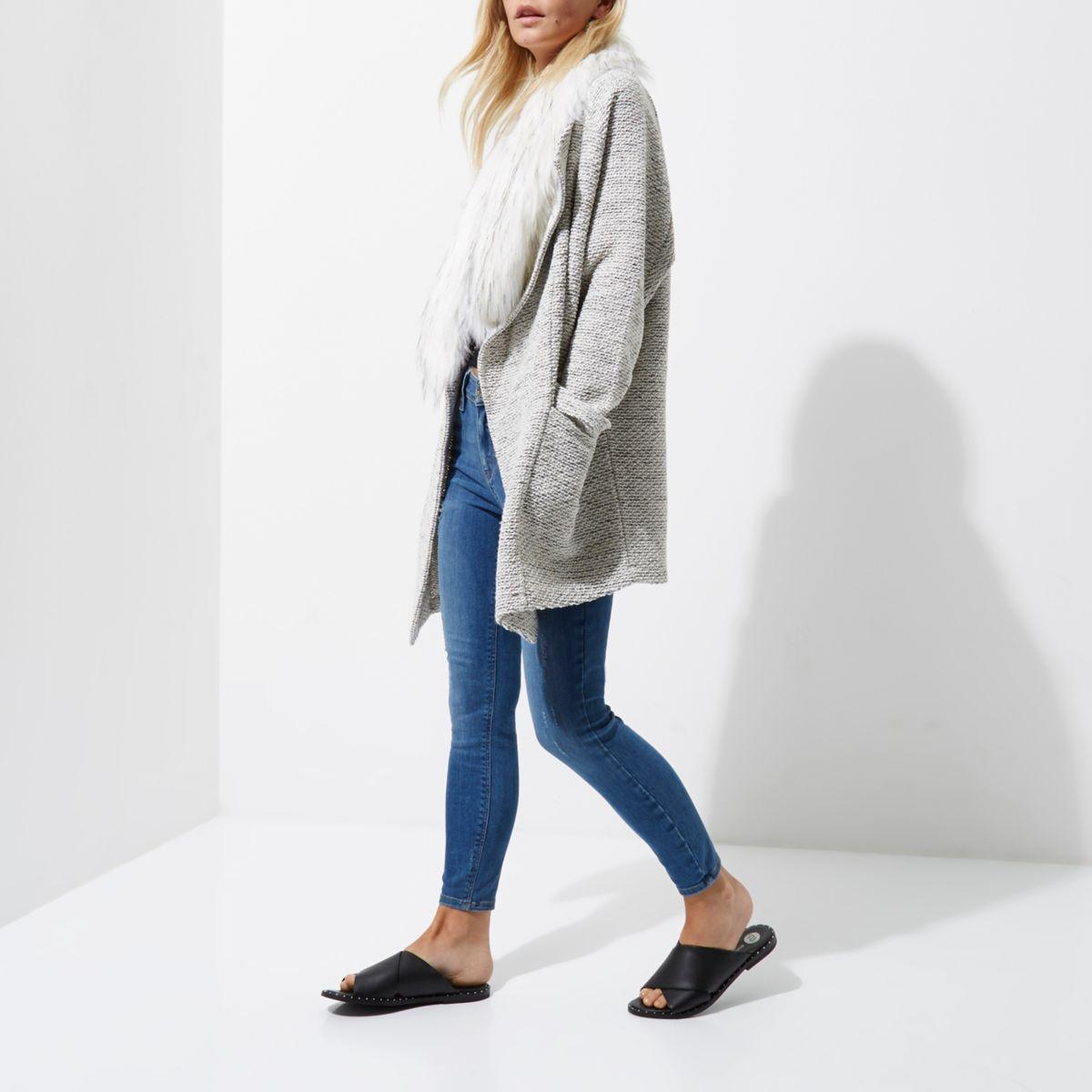 Petite grey fallaway faux fur trim blazer