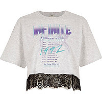 Grey 'Infinite' band print lace hem T-shirt