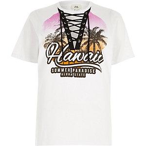 """Weißes T-Shirt zum Schnüren mit """"Hawaii""""-Print"""