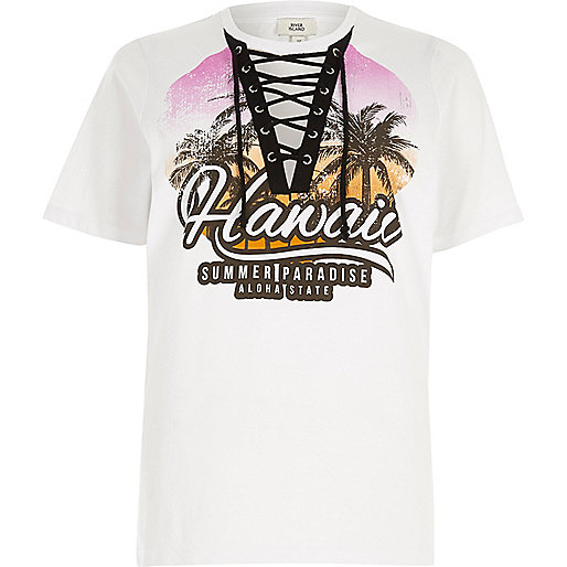 White 'Hawaii' print lace-up front T-shirt