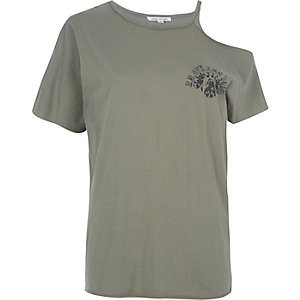 T-Shirt mit Schulterausschnitten in Khaki