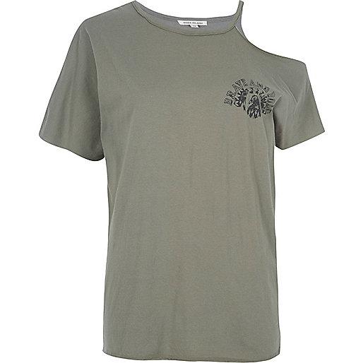 Khaki green cut out shoulder T-shirt