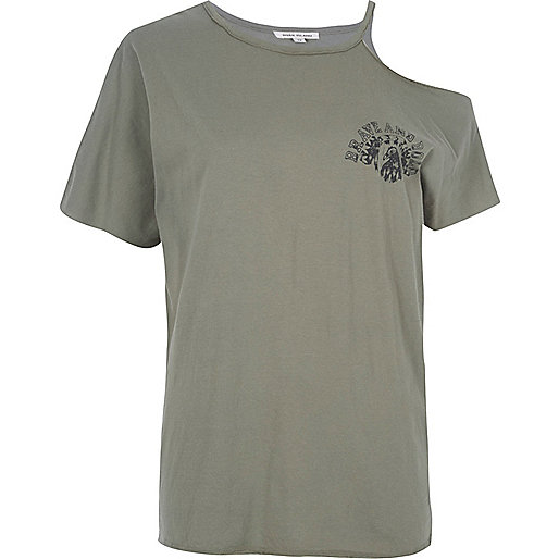 Khaki green cut out shoulder T-shirt
