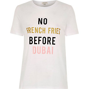 White 'French Fries' print fitted T-shirt