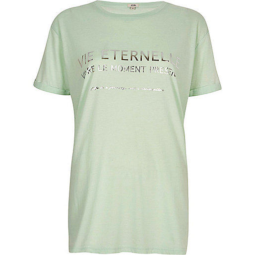 Green 'vie' print boyfriend T-shirt