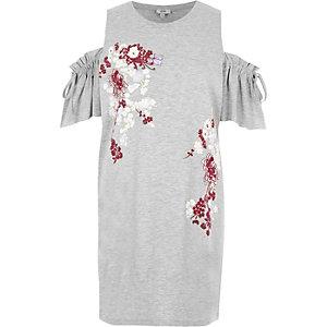 Graues, meliertes Oberteil mit Schulterausschnitten und Blumenmuster