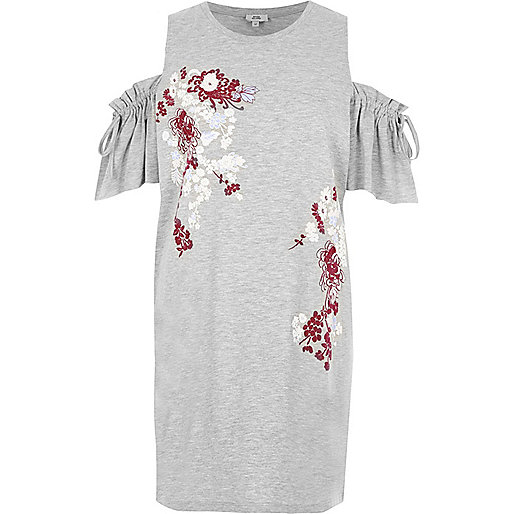 Grey marl floral print tie cold shoulder top