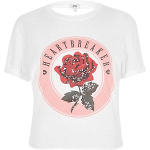 T-shirt «heartbreaker» blanc noué au dos