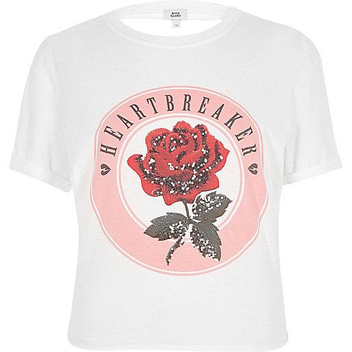 White 'heartbreaker' tie back T-shirt