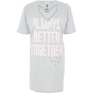 Fashion Strong – Graues, meliertes T-Shirt