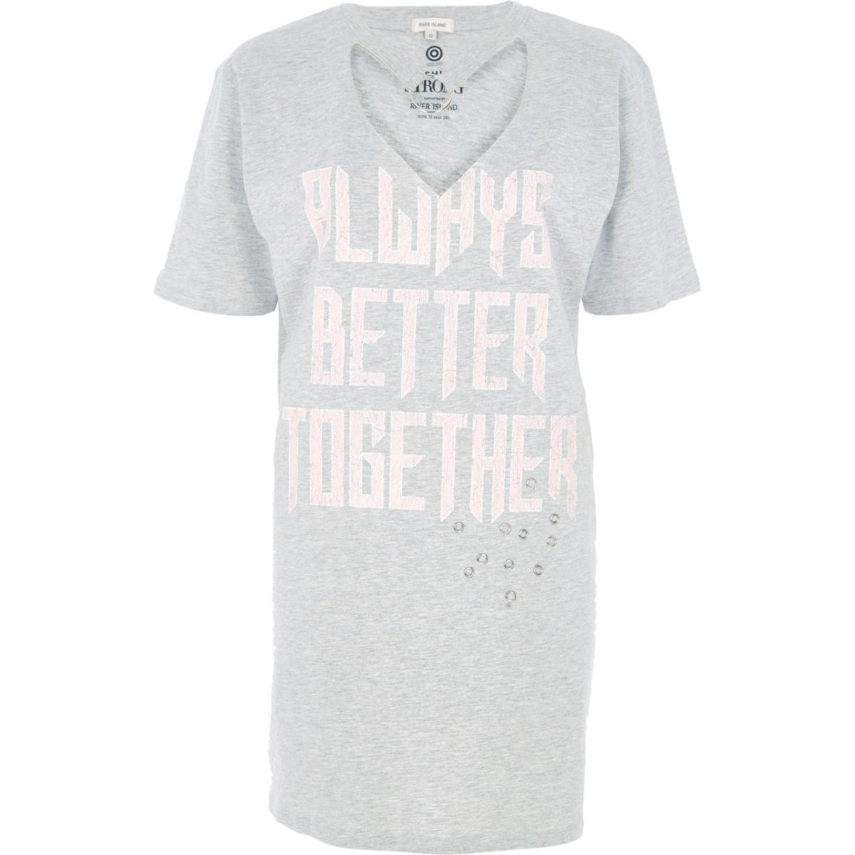 Grey marl Fashion Strong choker T-shirt