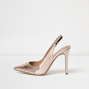 Gold wide fit metallic slingback court shoes