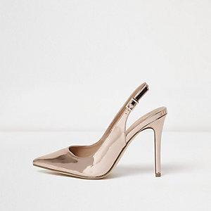 Escarpins doré métallisé à bride arrière coupe large