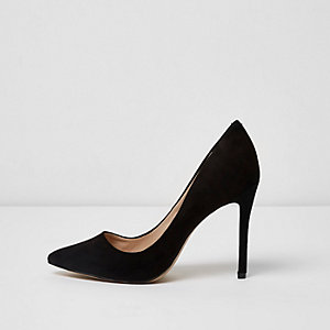 Black wide fit pointed court shoes