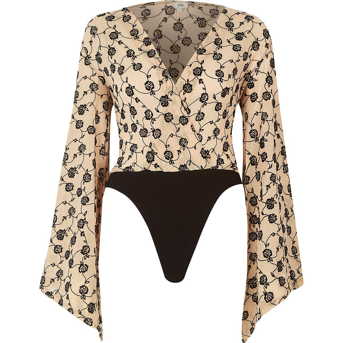 ad54bec9d1 Cream floral plunge flute sleeve bodysuit - RI Limited Edition - women