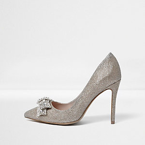 Gold wide fit embellished bow court shoes