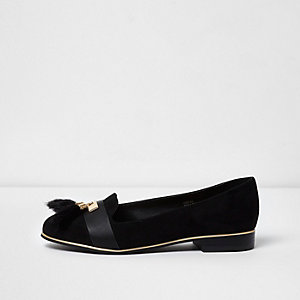 Black wide fit tassel loafers