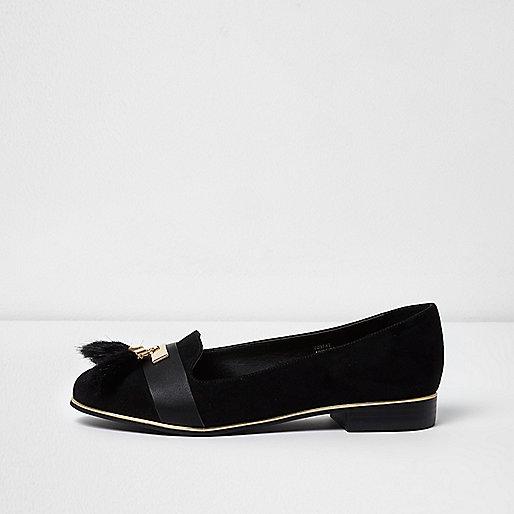 Black wide fit tassel loafers