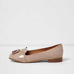 Light pink wide fit tassel loafers