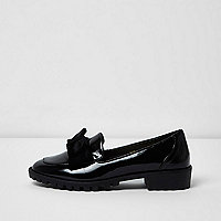 Black patent bow front chunky loafers