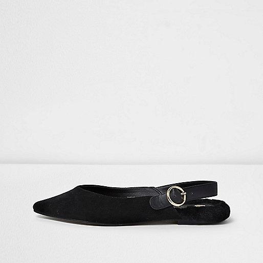 Black slingback pointed faux fur back shoes