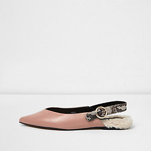 Light pink slingback fur back pointed shoes