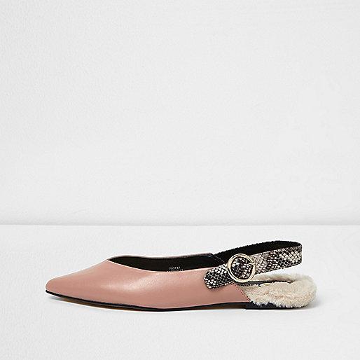 Light pink slingback fur back pointed shoes