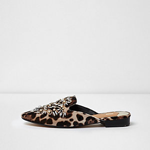 Brown leopard embellished backless loafers