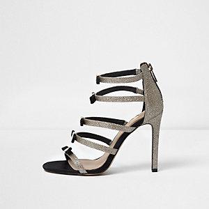 Sandales dorées à brides et nœuds