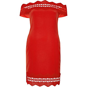 Red geo lace bardot bodycon dress