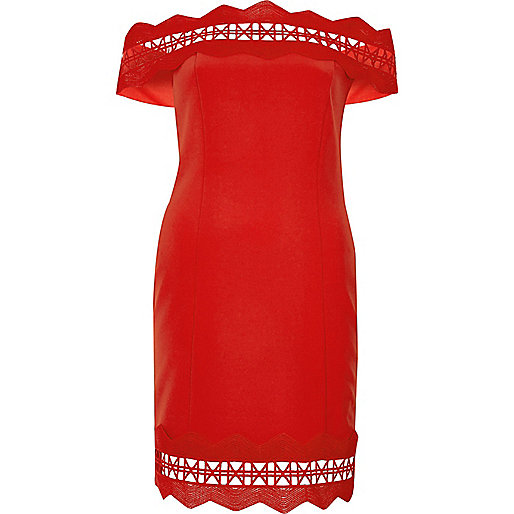Red geo lace bardot bodycon dress