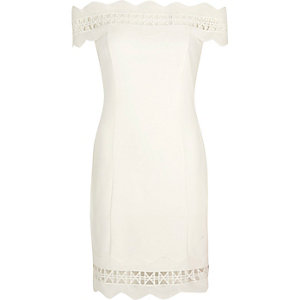Cream geo lace trims bardot bodycon dress