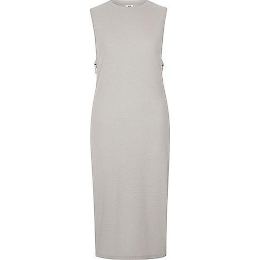Light grey side ring bodycon midi dress