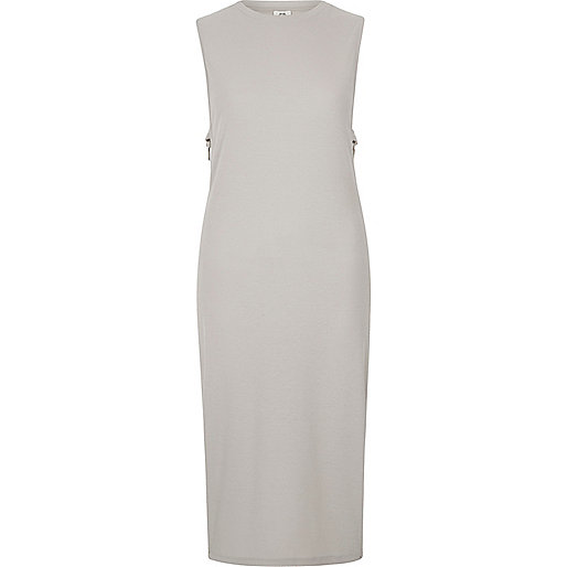 Light grey side ring bodycon midi dress