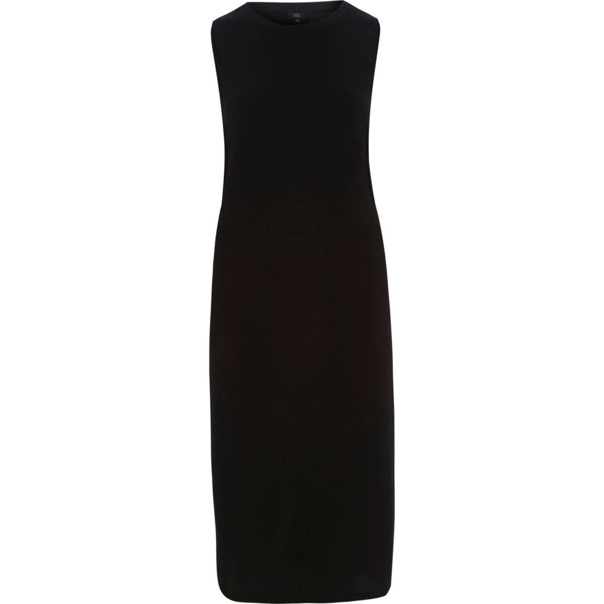 Black side ring bodycon midi dress